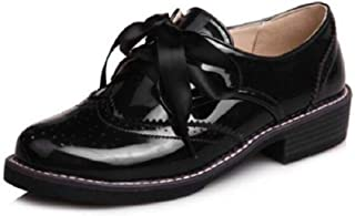 Women's Patent Leather Brogue Oxfords Lace Up Low Heel Perforated Wingtip Ribbon Flat Shoes