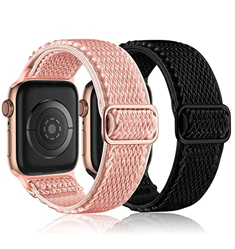 Witzon 2 Pack Compatible with Apple Watch Band 40mm 38mm for Women Men, Stretchy Solo Loop Strap Adjustable Nylon Elastic Sport Wrist Bands Designed for iWatch Series 6 5 4 3 2 1, Rose Gold/Black