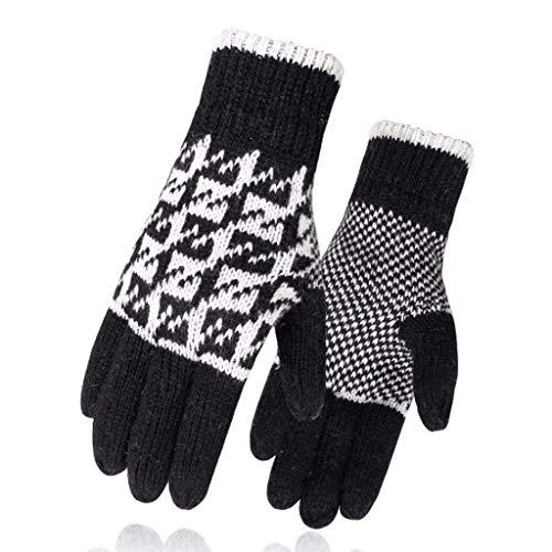 YDS SHOP handschoenen warme gebreide handschoenen kraanentritt wol winter met voering koude rijhandschoenen mannen verdikt J