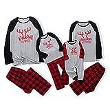 Sanahy Set Christmas Pyjamas Family Santa Claus Frau Mann Junge Mädchen Set Langarm-Pullover Baby Pyjamas Zweiteiliges Top und Hose Nachtwäsche Rentier Nachtwäsche