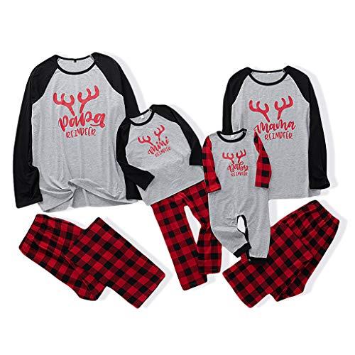 Fenverk Weihnachten Familie Outfit Set Matching Lange Ärmel Bluse + Plaid Lange Hosen Pyjama Set Xmas Schlafanzüge Nachtwäsche Feiertag Suit für Dad Mom Kinder Mädchen Jungen (E,Kind : 3-4 Jahre)