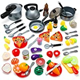 Küchenspielzeug 45 PCS, Theefun Kinderküchen Spielzeugset, Obst Gemüse Lebensmittel Küche Rollenspielzeug für Kinder, Kochgeschirr Töpfe und Pfannen Set Lernspielzeug Geschenk