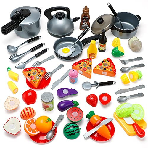 Kitchen Toys, 46Pcs Pretend Play Cooking Sets for Kids, Theefun Kitchen Accessories Included Cutting Play Food Toy and Other Cooking Toys, Educational Toys Gifts for Boys Girls 3 4 5 6 Years Old