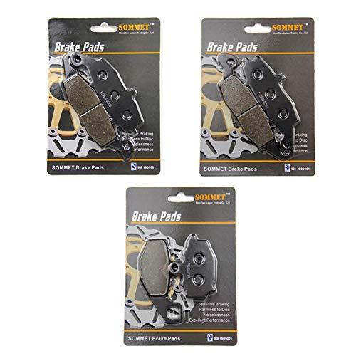 SOMMET Pastillas de freno Delanteras + Traseras para Kawasaki ER 650 ER6N EX 650 ER6F Ninja (06-16) Z750 Z750S ZR 750 (04-07) KLE 650 Versys (07-14) GPZ 1100 ZX 1100 (95-98) LT229-231-192