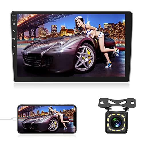 NHOPEEW Android 9.1 Autoradio 2 Din 10.1 Pollici 1080P HD Touch Screen Car Audio Stereo Bluetooth GPS Navigation con WiFi FM RDS DAB DVR SWC Dual USB + Lien Miroir + Telecamera Posteriore