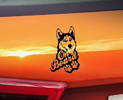 spb87 Husky On Board???Malamute Hunde On Board, Welpen, Tiere, hochwertiger Kleber Pfoten golden Window Vinyl Aufkleber Aufkleber Hund
