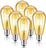 Kohree 6 x Vintage bombilla Edison E27 LED Filamento Bombillas Decorativas ST64 4W (Equivalente a 40W) 2200K Retro Edison Lámpara Ambar Cálido Bombillas Incandescentes para Lluminación y Decoración