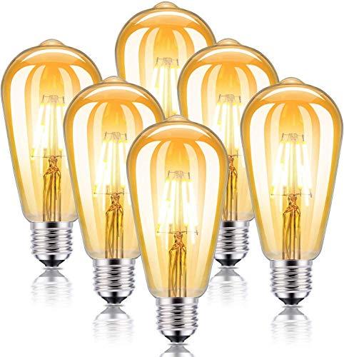 Kohree Lampadina LED Vintage Edison E27 ST64 4W Equivalente 40W 30000 Ore Durata Retro Stile Decorativo Luce per Casa Ristorante Bar Caffe Filamento Bianco Ambro 6 Pezzi
