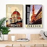RTAGBFND Firenze Catedral de Florencia Santa Maria del Fiore Toscana Italia Viajes Turismo Cartel de impresión vintage Decoración moderna para el hogar Pintura-50x70cmx2 Sin marco