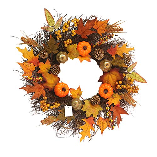 Sumshy Door Wreath with Autumn Decorating Pumpkin, Maple Leaf and Acorn Diameter 45 cm Beautiful Maple Wreath Decoration of Door, Window and Wall, Pendant Wreath for Halloween Thanksgiving Christmas