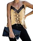 YOINS Blusa de verano sexy sin mangas de encaje con tirantes de espagueti, estampado de serpiente, blusa casual con tirantes