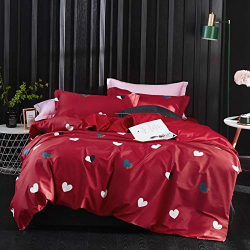 yaonuli Long-Staple Cotton Printed Four-Piece Cotton Hotel Love Password - rood Increase (2 m bed) Quilt Cover 220 * 240 Sheets 250 * 270 Pillowcase 48 * 74 * 2