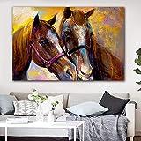 GJQFJBS Animal Deux Cheval Affiche Impression Peinture Salon Murale Mur Art Décoration Toile Peinture A2 40x50 cm