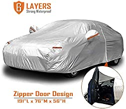 CARBABA Car Cover, Universal Full Car Covers with Zipper Door, 6 Layers All Weather Protection Waterproof/Windproof/Scratch Resistant/Reflective Strips for Sedan Wagon Use (177