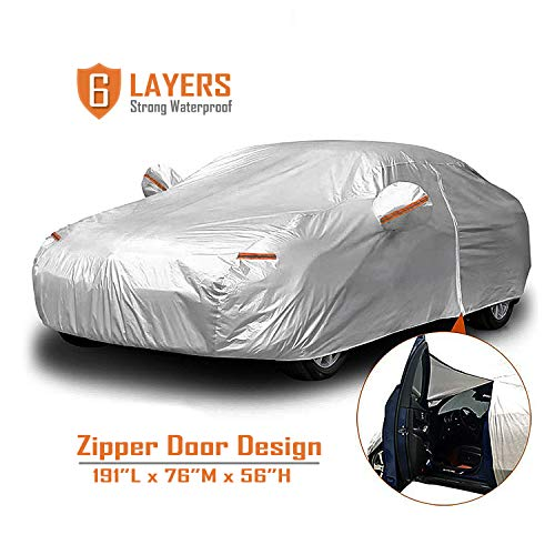 CARBABA Car Cover, Universal Full Car Covers with Zipper Door, 6 Layers All Weather Protection Waterproof/Windproof/Scratch Resistant/Reflective Strips for Sedan Wagon Use (177' - 191')