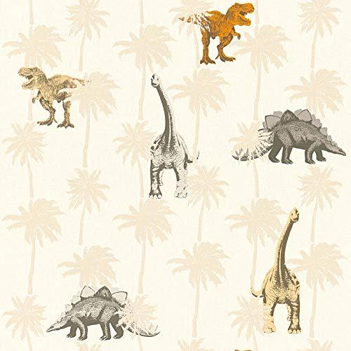 Vliesbehang Dino behang dinosaurus Kinderbehang Bruin Oranje/Terracotta 358351 35835-1 A.S. Création Little Stars   Bruin/Oranje/Terracotta   Sample (21 x 29,7 cm)