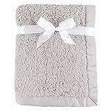 Hudson Baby Unisex Baby Sherpa Plush Blanket with Satin Binding, Gray, One Size