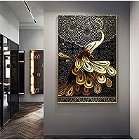 モダンペインティングリビングルームウォールアートゴールデンピーコック写真ブラックパターンHDプリントテールピーフウルポスター家の装飾60x80cmフレームなし