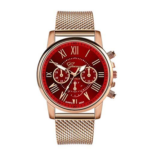 Yixikejiyouxian-A Reloj de Acero Inoxidable con Red de Personalidad Reloj de Cuarzo Informal de Lujo distinguido Relojes para Hombres y Mujeres - Rojo