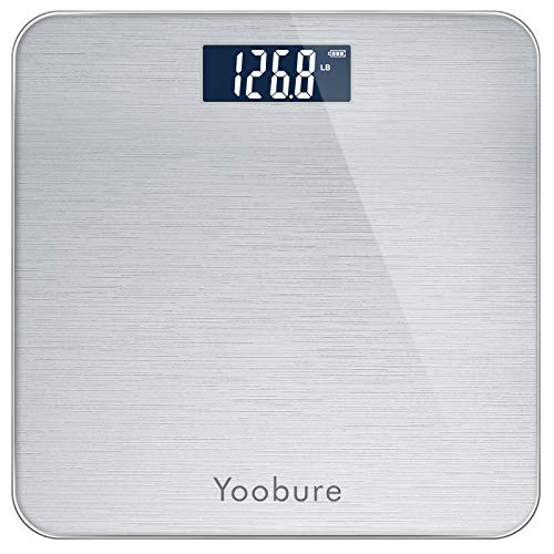 Weight Scale Precision Digital Body Bathroom Scale with StepOn Technology Brushing Finish 6mm Tempered Right Angle Glass Easy Read Backlit LCD Display 400 Pounds