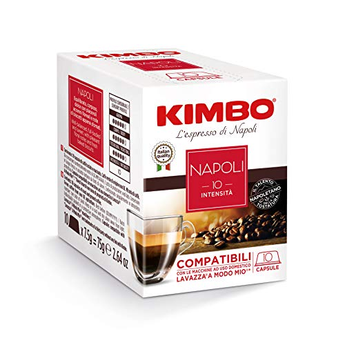 Kimbo Capsule di Caffè - Compatibili Lavazza a Modo Mio - Napoli (8 Confezioni da 10 Capsule, Totale 80 Capsule)