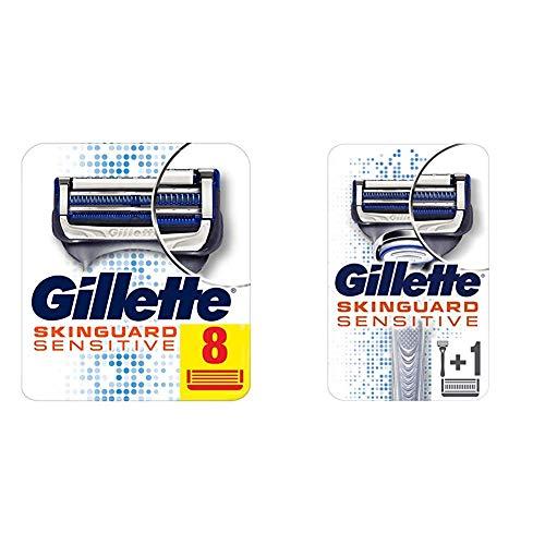 Gillette SkinGuard Sensitive Rasierklingen, 8 Stück + Handstück mit 2 Klingen