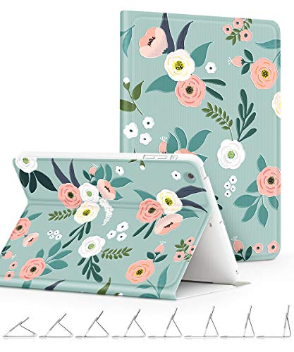 GVIEWIN Compatible for iPad Mini 1/2/3 Case, Slim Fit Floral Pattern Series Adjustable Multiple Stand Angles with Auto Sleep/Wake, All Round Protect Cover for iPad Mini 1/2/3 (Fresh Touch/Cyan)