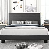 Amolife King Size Platform Bed Frame with Headboard and Wood Slat Support, Fabric Upholstered Low Profile Metal Frame Mattress Foundation, No Box Spring Needed, Easy Assembly, Dark Grey