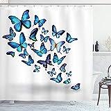 ABAKUHAUS Duschvorhang, Schmetterling Blau mit Klarem Hintergr& Welche Fliegen Flattern Natur Design Druck Blau Weiß, Blickdicht aus Stoff mit 12 Ringen Waschbar Langhaltig Hochwertig, 175 X 200 cm
