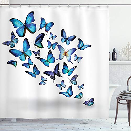 ABAKUHAUS Mariposas Cortina de Baño, Naturaleza Botánico Primavera, Tela Opaca Resistente al Agua y Jabón Antimoho Estampa Moderna, 175 x 200 cm, Blue Sky Blue Negro