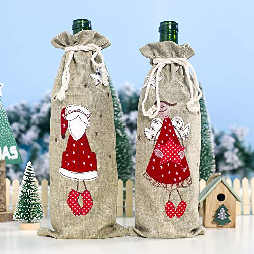 LbojailiAi Weihnachten Leinen Urlaub Party Decor Drawstring Red Wine Bottle Cover Champagner Tasche Alter Mann