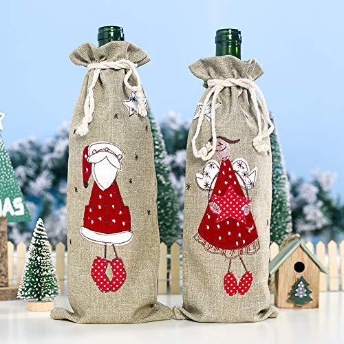 LbojailiAi Weihnachten Leinen Urlaub Party Decor Drawstring Red Wine Bottle Cover Champagner Tasche Alter Mann