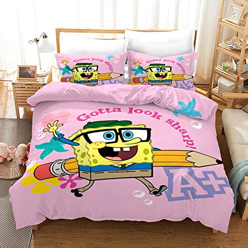 Showkig 3pcs Pink,3D Cartoon Anime Spongebob Squarepants Bedding Set Luxury Queen Size Bed Sheets Children Quilt Soft Duvet Cover Bedding Sets for Girl 1 Quilt Cover, 2 Pillowcases