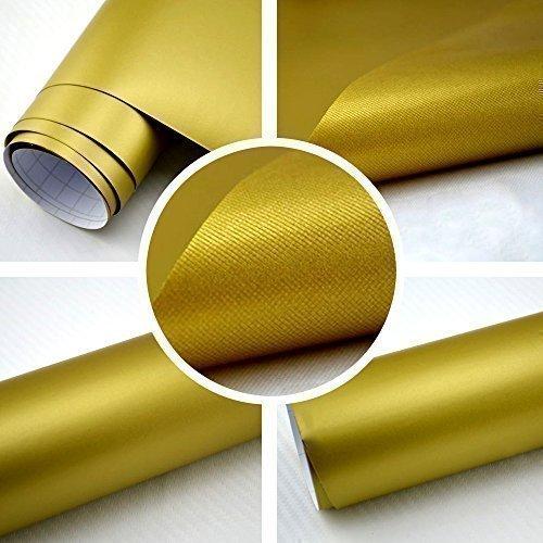TipTopCarbon 8,55€/m² Matt Gold 152cm breit Blasenfrei Autofolie selbsklebend mit Luftkanäle 3D Flex Folie Auto