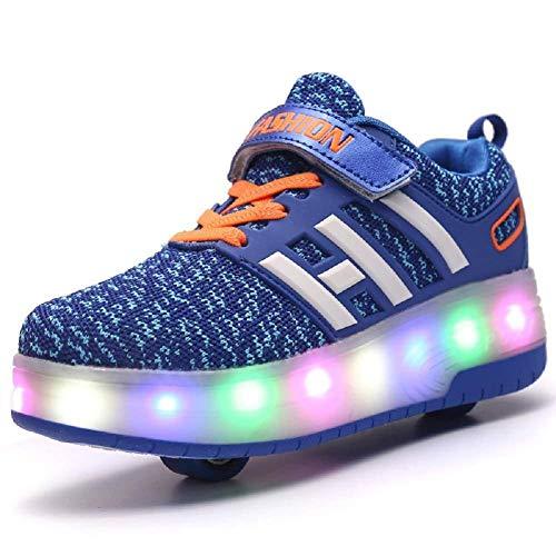 Sunflower Zapatos De Skate para Niños Zapatos con Ruedas con Luz LED Zapatillas De Deporte De Moda Niñas Niños Zapatillas De Deporte De Malla Cómodas,Blue-36