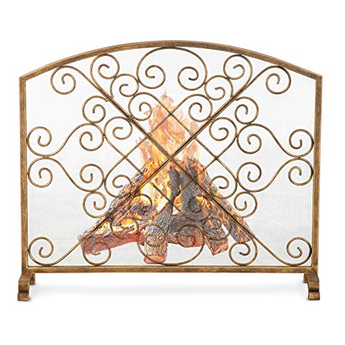 Spark Guard Gold Fireplace Screen with Metal Mesh and Scroll Pattern Design, Solid Spark Guard Cover Baby Safety Fire Proof Fence (38'L X 8'W X 33'H)