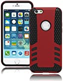 Bastex Heavy Duty Hybrid Protective Case - Black Honeycomb Design Silicone Cover with Red Rubberized Rib Hard Shell for Apple iPhone 6, 4.7'