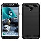 Samsung Galaxy J3 2018/J3 V 3rd Gen/J3 Eclipse 2/J3 Orbit/J3 Achieve/J3 Express Prime/J3 Prime 2/J3 Emerge 2018/Amp Prime 3 case, PUSHIMEI Soft TPU Brushed case for Sol 3/J3 Aura/Star (Black Brushed)