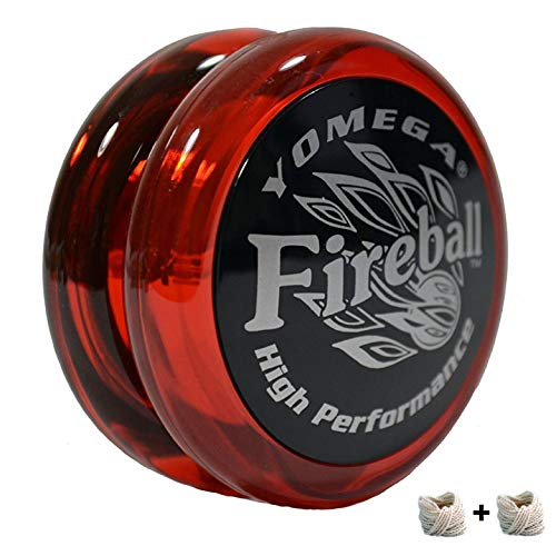 Yomega Fireball - Professional Responsive Transaxle Yoyo, Great For Kids And Beginners To Perform Like Pros + Extra 2 Strings & 3 Month Warranty (Dark Red)