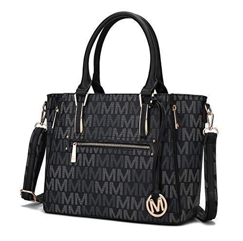 MKF Crossbody Shoulder Bag for Women, M Charm, PU Leather Roomy Pocketbook Top-Handle Handbag Purse Tote-Satchel Black