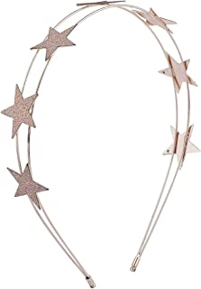Lux Accessories Rose Gold Tone Glitter Star Celestial Double Row Wire Headband