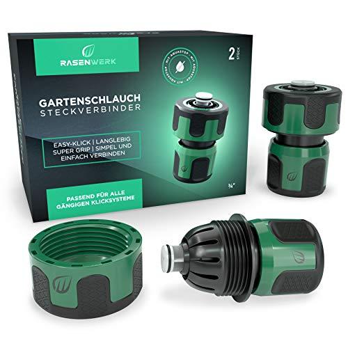 RASENWERK® - Gartenschlauch Steckverbinder mit Aquastop 3/4 Zoll - Wasserstop Premium Schlauchverbinder - Connector mit Wasserstop - 2 Stück