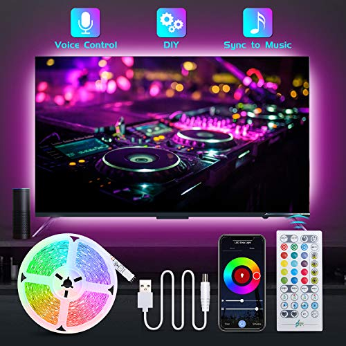 LED Strip Lights for TV, TASMOR 6.56Ft TV LED Backlights Music Sync Works with Alexa Google Home, USB Powered Smart WiFi App Controlled LED Color Changing Light Strip with Remote for 24-55in TV, PC