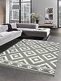 CARPETIA Alfombra Moderna Alfombra de salón patrón marroquí Gris Blanco Größe 80x150 cm