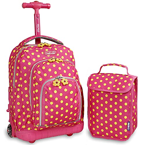 J World New York Kids' Lollipop Rolling Backpack & Lunch Bag Set, Pink Buttons, One Size