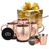 Baban Moscow Mule Kupferbecher: Umfasst 4 x Becher 500ML , 4 x Untersetzer, 4 x Strohhalme, 2 x Shotglas 60ML in Geschenkbox;Das beste Geschenk für einen Liebhaber