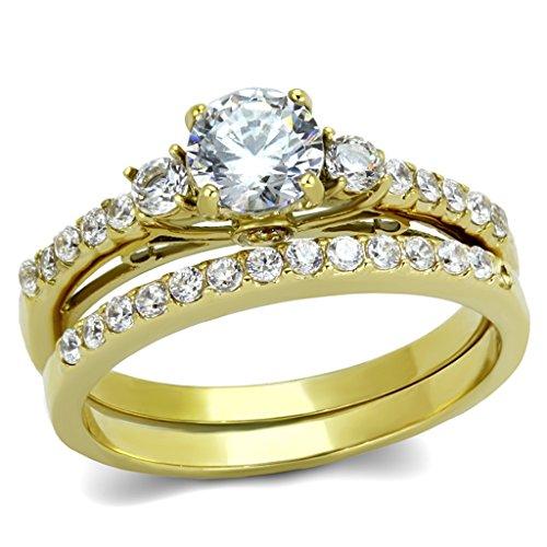 Lanyjewelry 0.6 Carat Round Cut CZ Women's Gold IP Stainless Steel Wedding/Engagement Ring Set