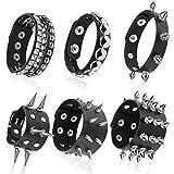 Hicarer 6 Pieces Punk Studded Bracelet Rivets Bracelet Leather Rivets Bracelet Cuff for...