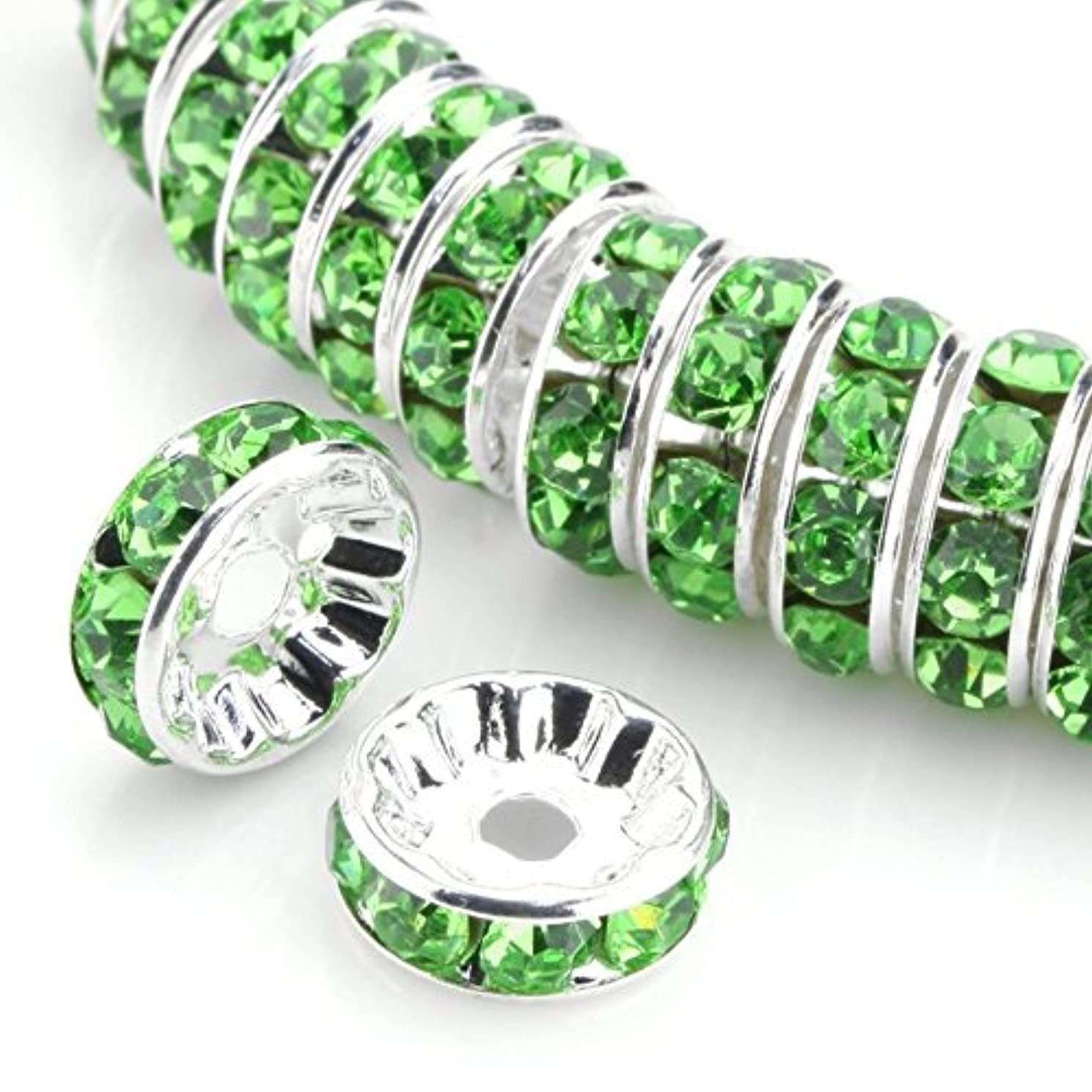 100pcs 8mm Top Quality Rhinestone Crystal Rondelle Spacers Loose Round Beads (Peridot green) Sterling Silver Plated Brass Metal CF1-816