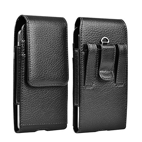 Njjex Cell Phone Holster for iPhone 11 12 Pro Max XS XR 7 8 Samsung Galaxy Note 20 10 9 J3 J7 S21 Ultra S20+ S10 S9 Moto G Power E6 LG Stylo 6 5 4 PU Leather Belt Clip Loops Pouch Holder Carrying Case